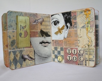 Vintage Time Altered Collaged Art Board Book OOAK Original