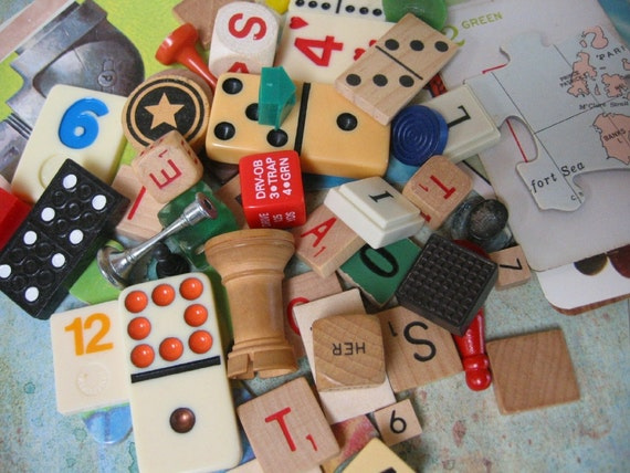 Vintage Game Pieces 60 Plus Mixed Media, repurpose, reuse, altered art