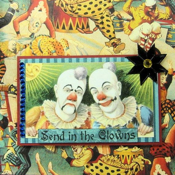 Vintage Circus Clowns Greeting Card