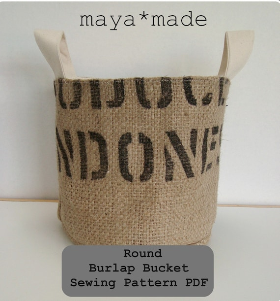 PDF Pattern for Round Burlap Bucket