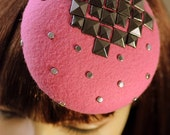 Pink Cocktail Hat Aztec Empire Hand Blocked Mini Fascinator Hat