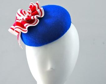 Ahoy Sailor Cocktail Hat Hand Blocked Nautical Felt Mini Hat Millinery Fascinator