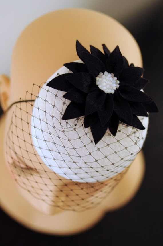 Black Petals White Cocktail Hat Fascinator Mini Very Vintage Millinery Collection