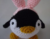 Crochet Penguin with  Pink Bunny Ears  Amigurumi Stuffed Animal April The Penguin