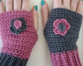 Crochet Fingerless Gloves Wrist Warmers with Flowers Deep Pink and Charcoal Grey Mix It Up- Made To Order