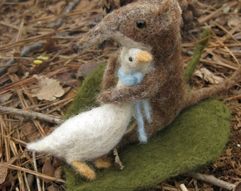 Felted Animals - Shrew and His Goose