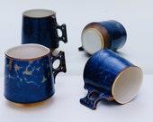 Porcelain Coffee Mugs Blue Orange Crystalline Glaze Hand Made Hand Thrown Ceramic Mugs