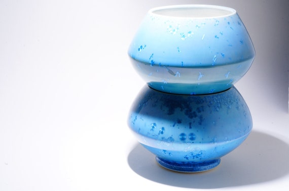 SPRING SALE 20% OFF Bowls Teal Aquamarine Blue Crystalline Glaze Hand Thrown Ceramic Cereal Bowl