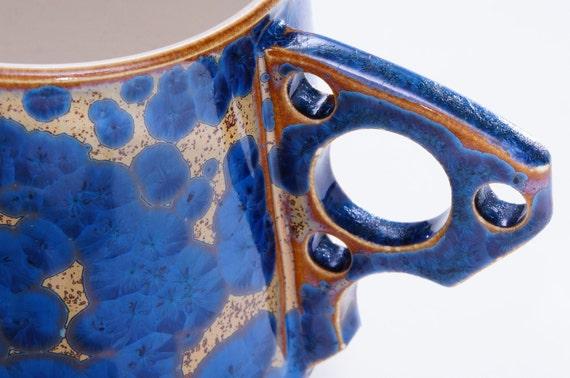 SPRING SALE 20 % OFF Porcelain Mug Ergonomic Handle Orange Blue Crystalline Glaze Ceramic Hand Thrown Coffee Mug