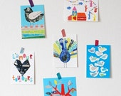 Set of 6 colorful postcards
