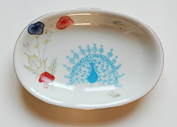 SALE Autumn peacock platter
