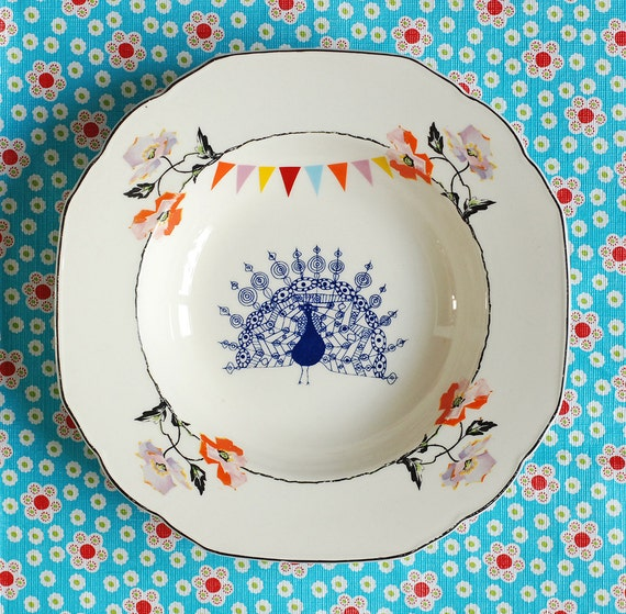 SALE The peacock, flowers and bunting plate