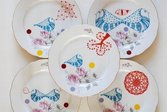 Set of six large mix and match dinner plates