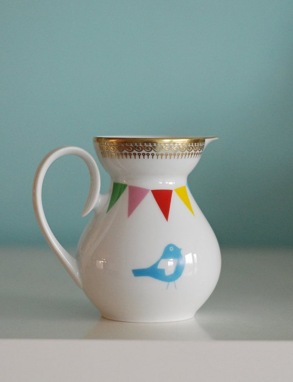 SALE Lovebirds and bunting pitcher