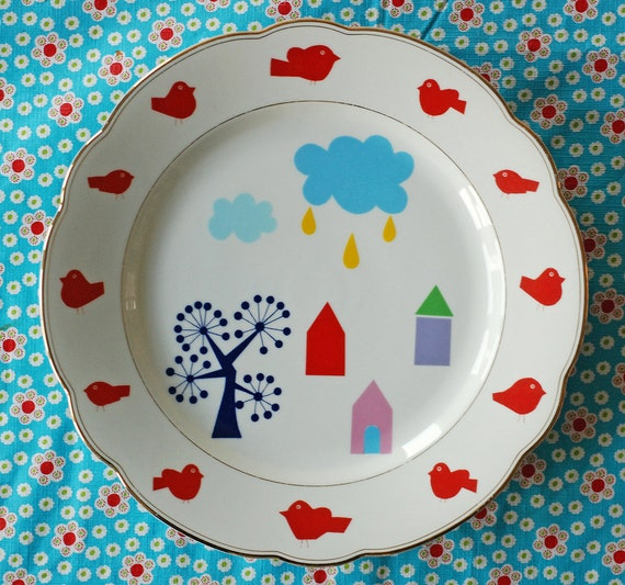 SALE Extra large happy houses serving/cake plate