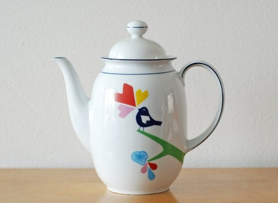 SECONDS SALE Large lovebird and spirograph teapot