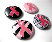 PINK RIBBON (set 2)  set of 4 pin back buttons - breast cancer awareness