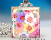 CHERRY BLOSSOMS - Game Tile Pendant - Fun Affordable Gift