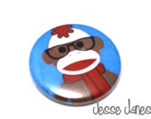 SOCK MONKEY with Glasses (blue) -  backpack pin, pin back button, badge, cabochon - Fun gift