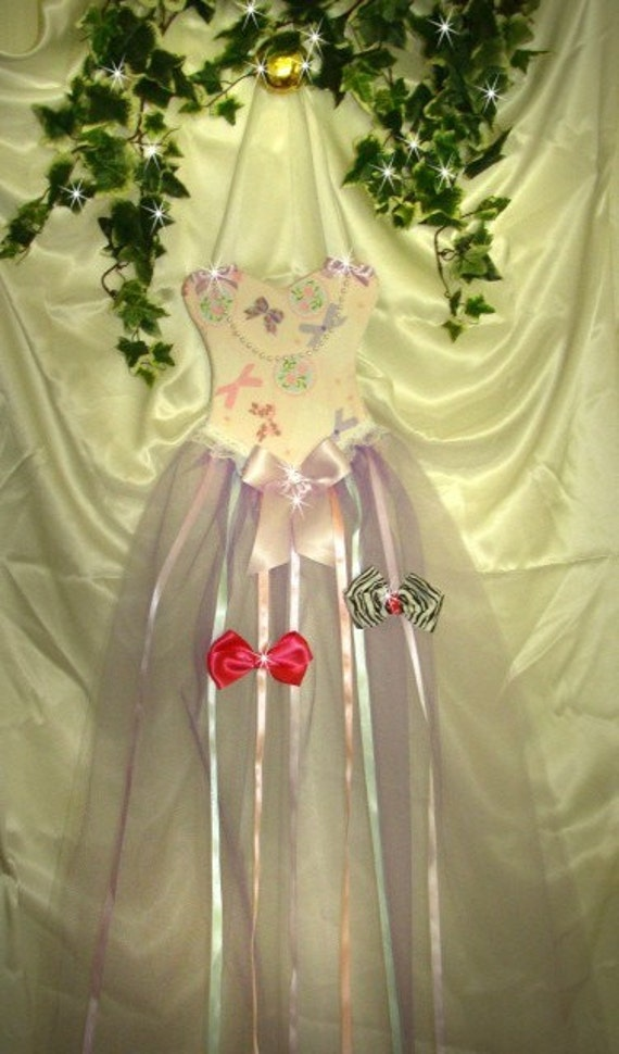 Princess Pink with pastel flowers and bows print Hairbow Holder tutu dress