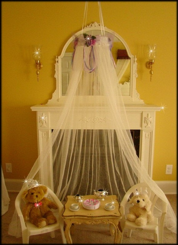 Fairy Princess Bed Canopy Crown Tent Ring Dress Up Pink