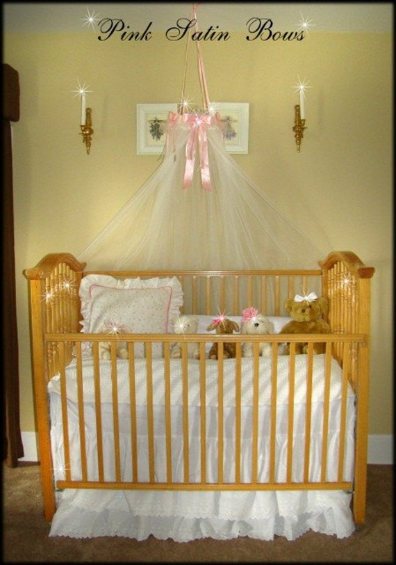 Bed canopy crib princess fairy ring with pink bows free tiara for Canopy over crib