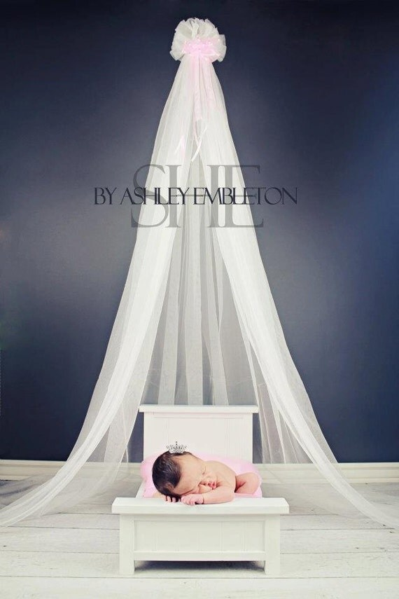 Nursery crib crown canopy photo prop princess pink bow hanging for Nursery crown canopy
