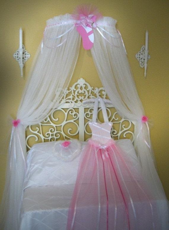 Princess Ballerina Fairy Bed Canopy Ballet Style Netting Girls