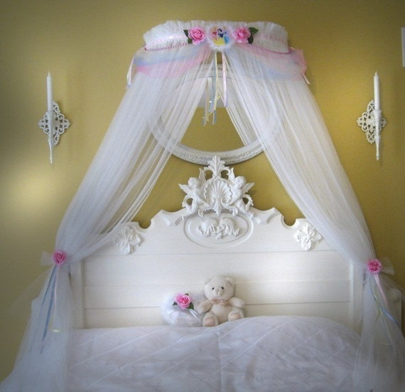 Disney princess fairy bed canopy girls bedroom netting for Bed decoration with net
