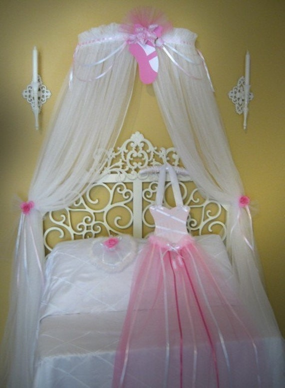Princess ballerina fairy bed canopy crown ballet style netting girls