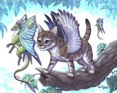 Flying Lessons, 8x10 Print, Flying Lizard teach a winged cat