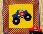 Crochet Pattern Monster Truck Afghan and Toy, Digital Download