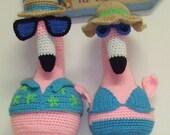 Crochet Pattern -  Pink Flamingos - Amigurumi - Digital Download