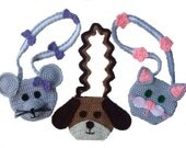 Crochet Pattern Whimsical Purses Cat Dog and Mouse, Digital Download