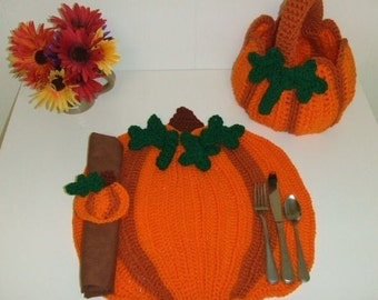 Crochet Pattern Pumpkin Patch Kitchen Set
