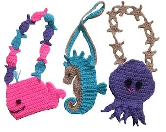 Purse Crochet Pattern, Ocean Friends Purses, Digital Download