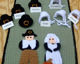 Crochet Pattern Thanksgiving - Pilgrim Tablerunner - Digital Download