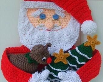 Crochet Pattern Christmas Santa Door Hanging, PDF Instant Download