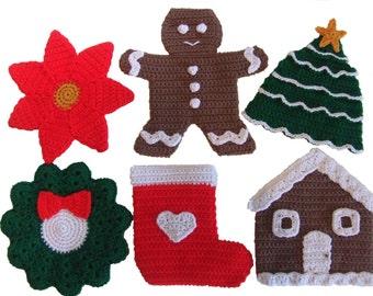 Crochet Pattern Christmas Potholders, Digital Download