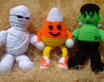 CROCHET PATTERN - CV065 Halloween Ghoulies - Monster - Mummy - Candy Corn - Toys - Amigurami - PDF Download