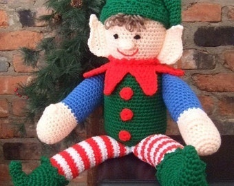 Crochet Pattern Christmas Elbert The Elf, Amigurumi, Digital Download