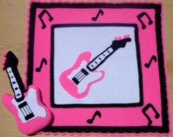 Crochet Pattern Pink Guitar Afghan and Pillow, Digital Download