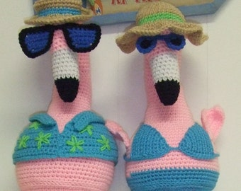 Crochet Pattern -  Pink Flamingos - Amigurumi - Digital Download