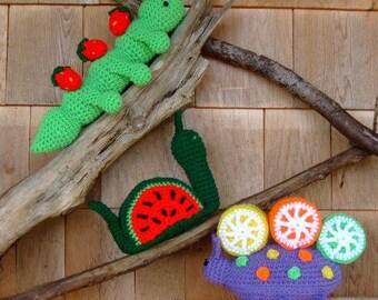 CROCHET PATTERN - CV077 Fruit Bowl Thieves - Inchworm - Snail - Beetle - Amigurami - PDF Download