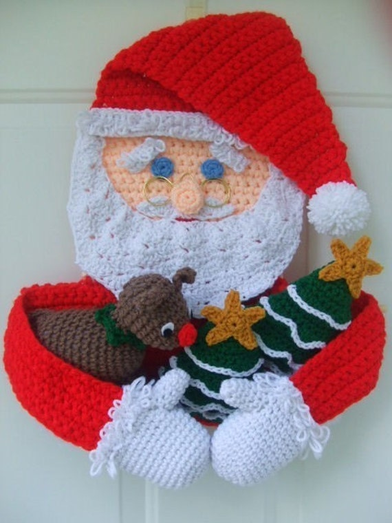 Crochet Pattern Christmas Santa Door Hanging, PDF Instant Download