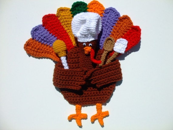 Crochet Pattern Thanksgiving Turkey Door Hanging, Digital Download