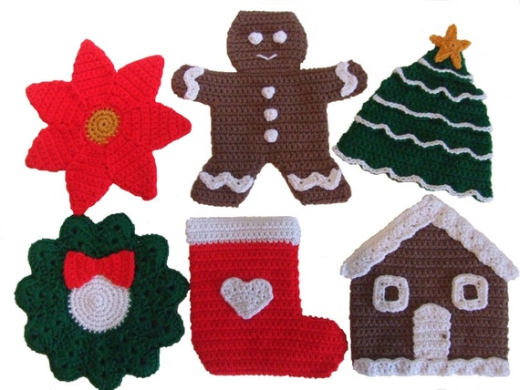 Crochet Pattern Christmas Potholders, Digital Download