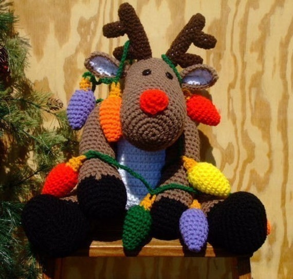Crochet Pattern Christmas Roebuck the Reindeer, Digital Download