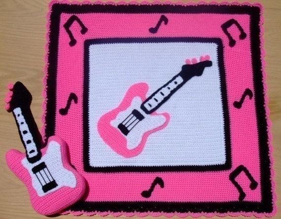 Crochet Pattern Pink Guitar Afghan and Pillow, Digital Download