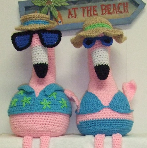 Crochet Pattern Pink Flamingos Digital Download